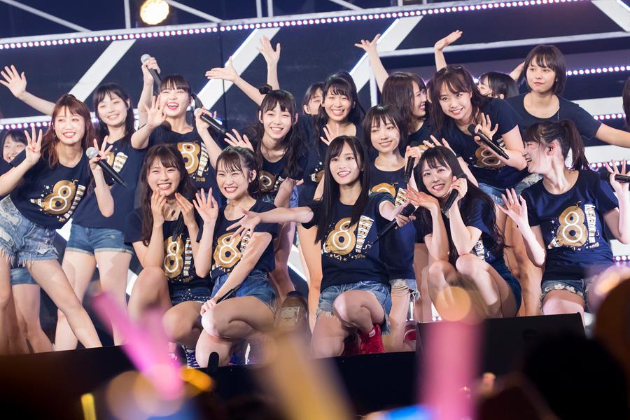 1期生が刻んだ8年の軌跡を振り返りつつ、これからの未来に向けて飛躍するNMB48を表すライブとなった8周年記念コンサート(17日、大阪市内)©NMB48