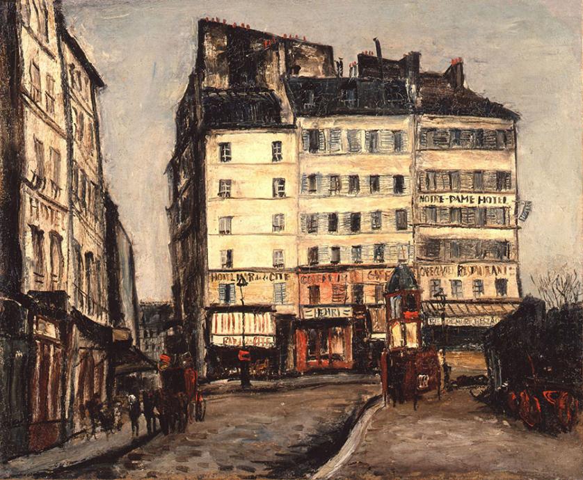 大橋了介《街角の風景》 1929-33年 油彩、布 芦屋市立美術博物館蔵