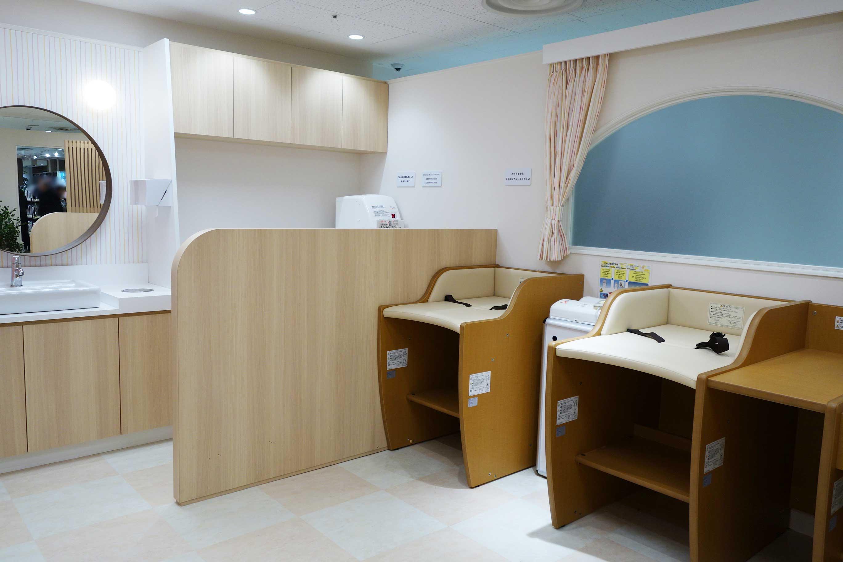 ベビールームには授乳室や調乳用の水なども準備