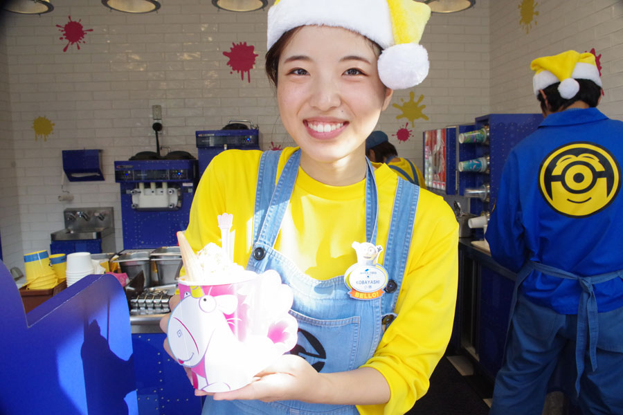 ミニオンパークではフラッフィのデザートドリンク・ホットチョコレート580円も販売開始