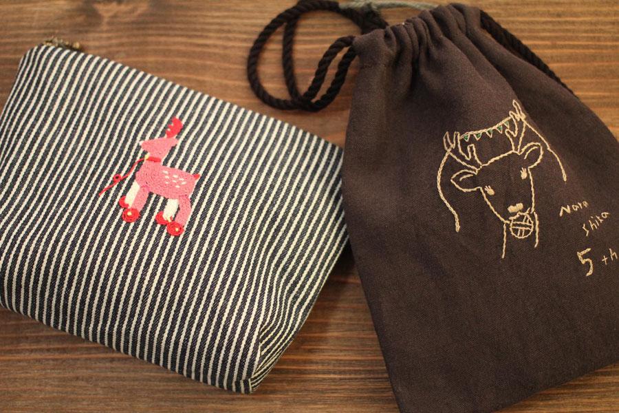 刺繍小物作家「te+(テプラス)」さんの5th記念 ポーチ、巾着(※作品は全て1点もので数に限りあり)