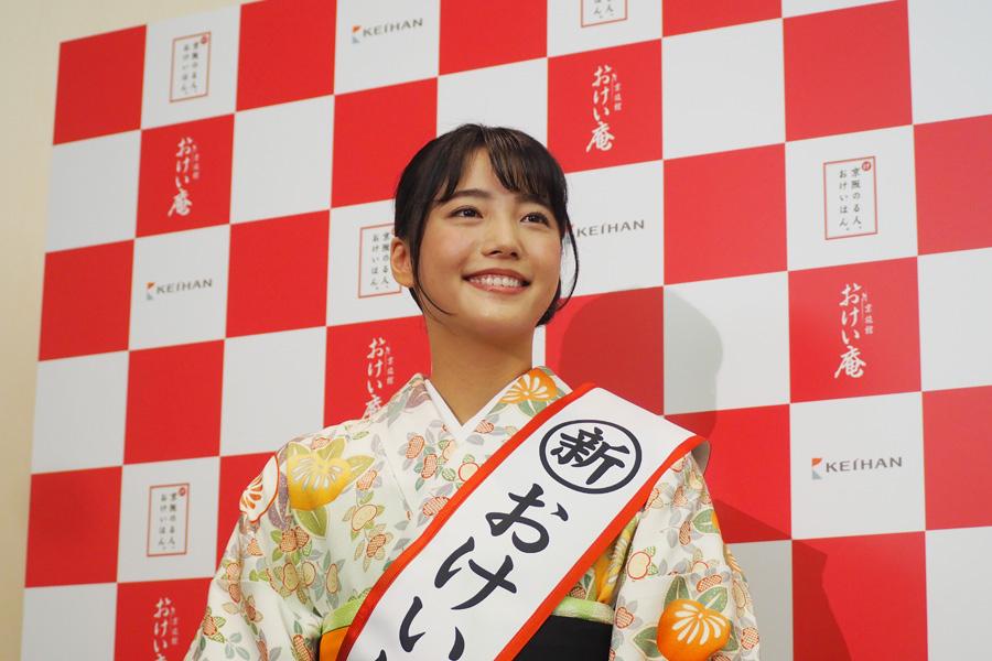 7代目おけいはんに就任した中川可菜(8日、大阪市内)