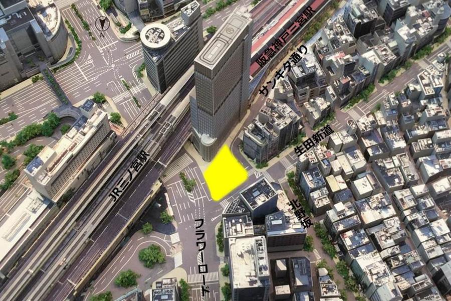 さんきたアモーレ広場の周辺(立体模型写真)