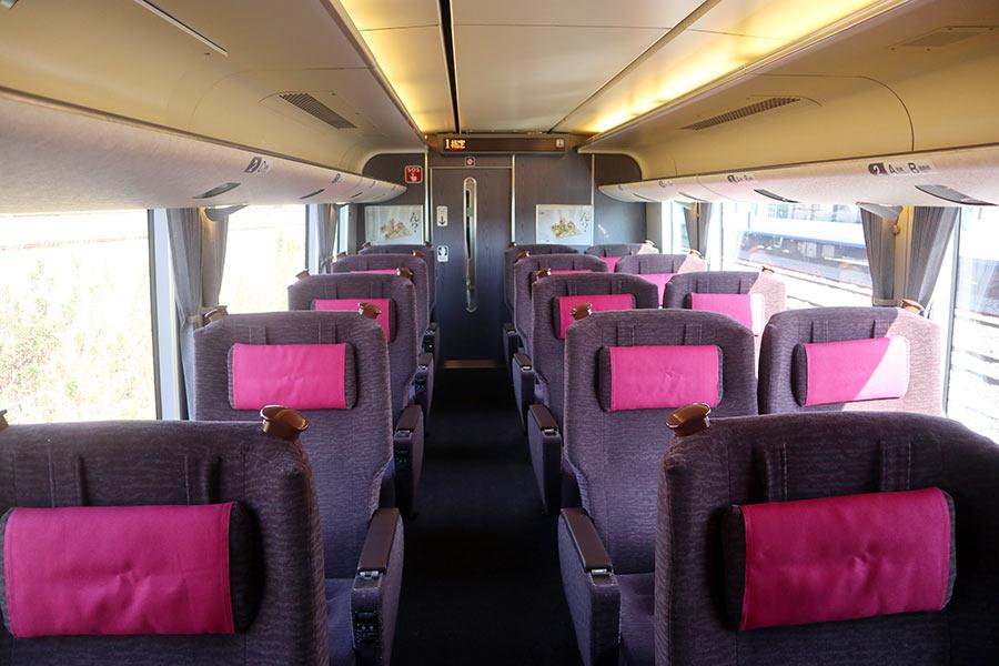 JR神戸線の通勤客向け特急「らくラクはりま」グリーン車の内装