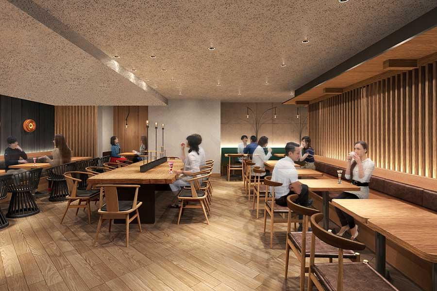広々としたカフェスペースでは、スイーツ以外に、食事も楽しめる