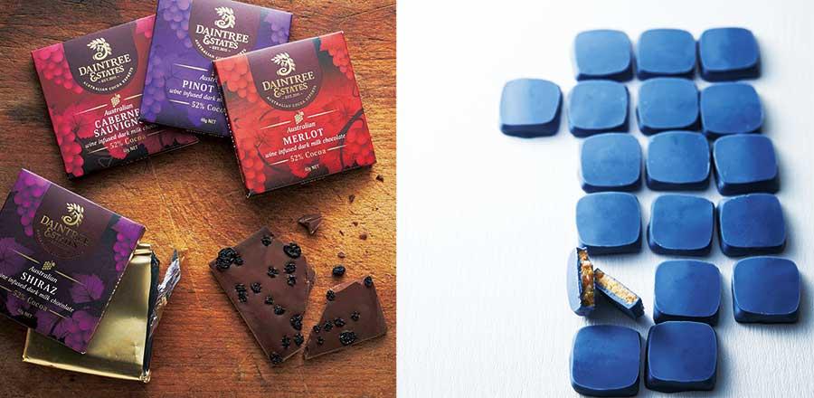 左から日本初登場するオーストラリアの「ダインツリー」、フランスの青いチョコが人気の「ラ・プティ・マルキーズ」