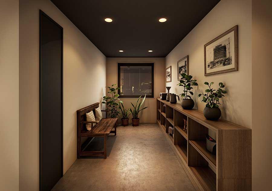 昔の写真などを飾り、ヴィンテージ感が味わえる家具などを配置した共有スペース