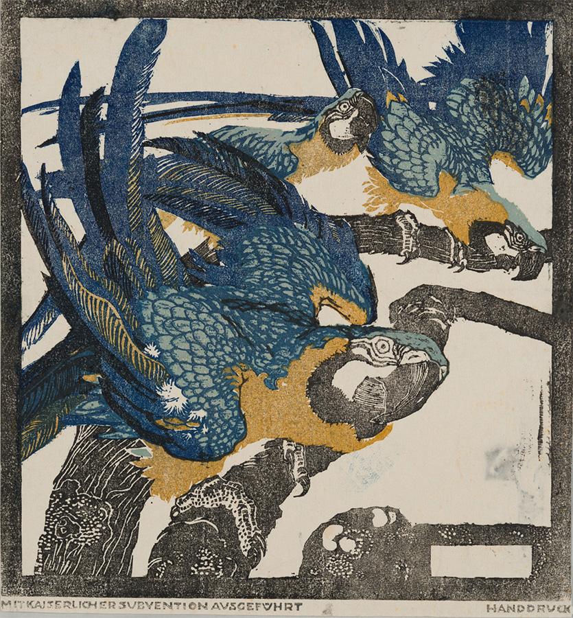 ルートビィヒ・ハインリヒ・ユンクニッケル《三羽の青い鸚鵡》(連作「シェーンブルンの動物たち」より)1909年頃 京都国立近代美術館