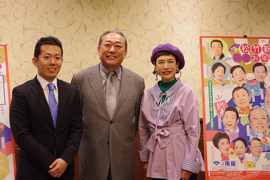 左から『松竹新喜劇 新春お年玉公演』に出演する藤山扇治郎、渋谷天外、久本雅美