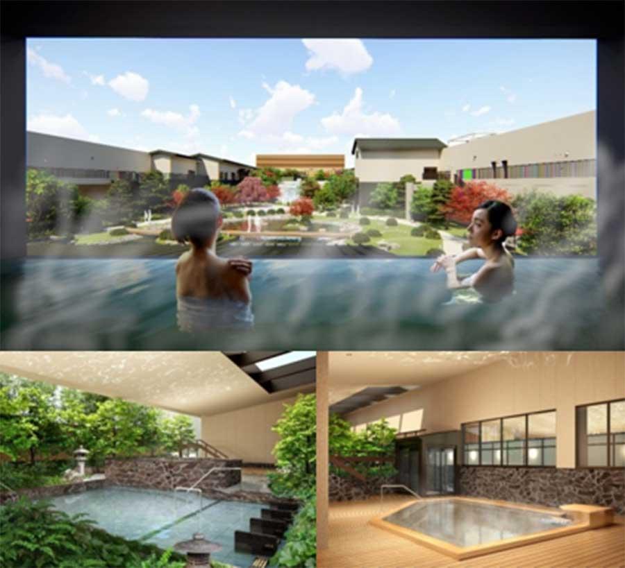 大浴場のイメージ図。日本庭園の景色を楽しめる「庭見風呂」などが登場