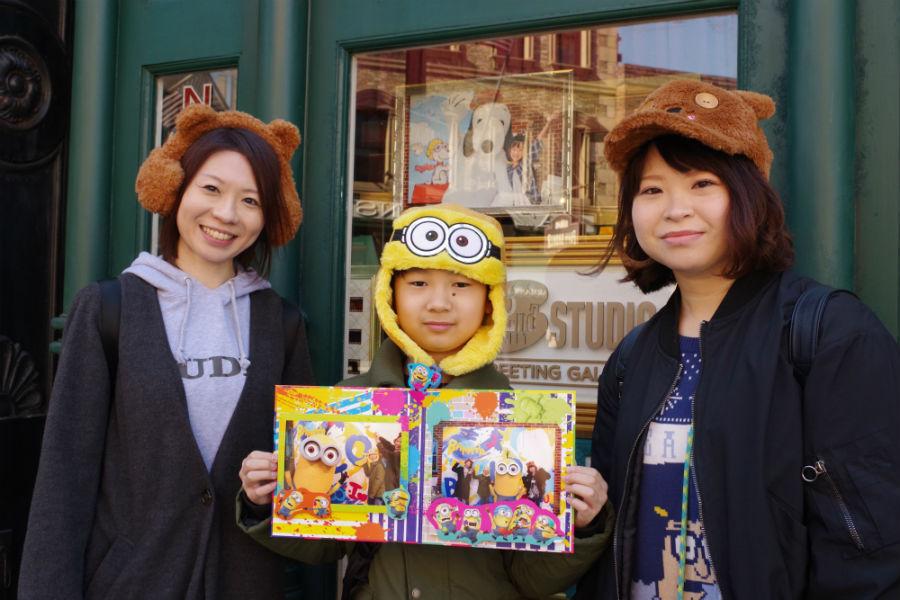 北海道札幌市から訪れた中山珠里さんと小6の息子・初陽くん、妹の真李さんのご家族