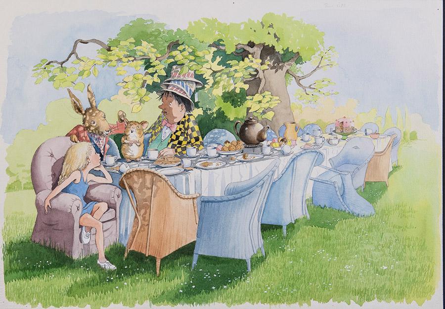 ヘレン・オクセンバリー「『不思議の国のアリス』第7章より《へんなお茶会》」 ©Helen Oxenbury