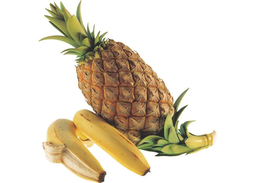 【牙彫】安藤緑山《パイナップル、バナナ》 清水三年坂美術館蔵