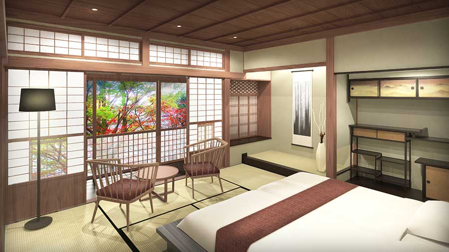縁側や床の間もあり、3〜4名で利用できる「京町家スイートルーム」