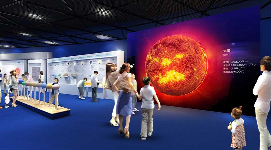 展示も新しくなり、宇宙を観測する方法や、元素の周期表、気象関係の展示なども新しく(イメージ図)