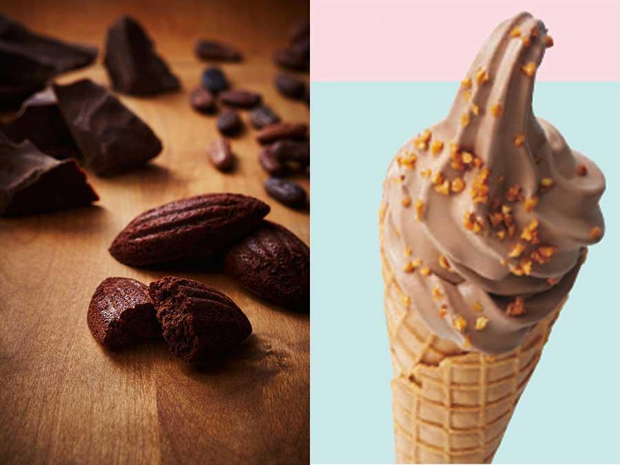 左から焼き菓子ガトー オ ショコラ、チョコレートソフト