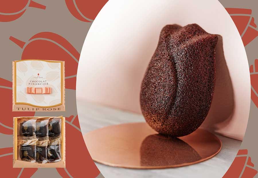 チューリップ型のショコラフィナンシェは、3個入1080円