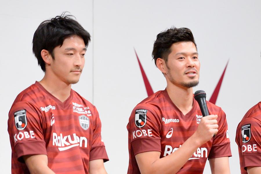 ヴィッセル神戸の新加入選手&ユニフォームの発表会に出席した山口蛍選手(17日・神戸市内)