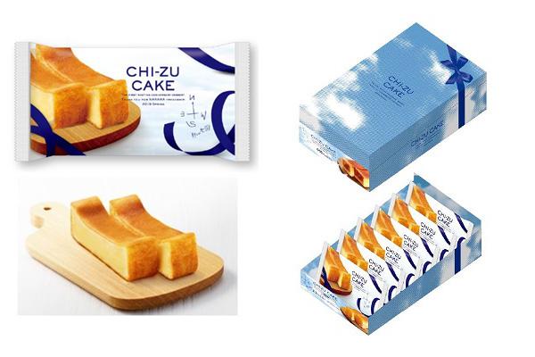 「CHI-ZU CAKE」(230円)、右写真は陳列・箱イメージ