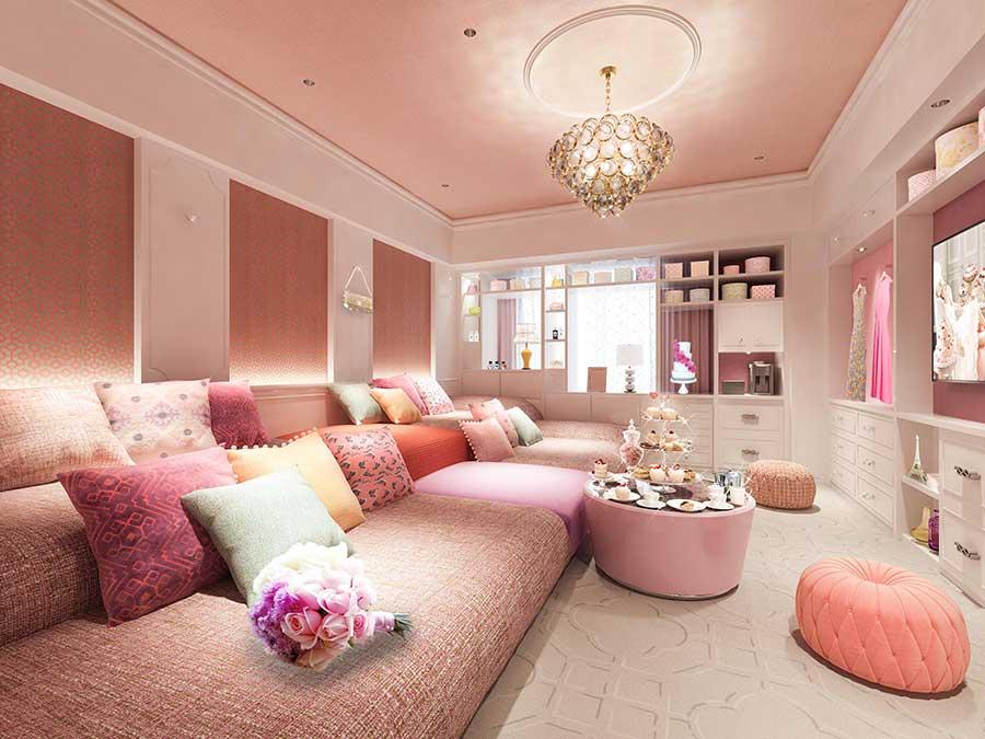 ピンクをベースとした、まさにガーリーな部屋