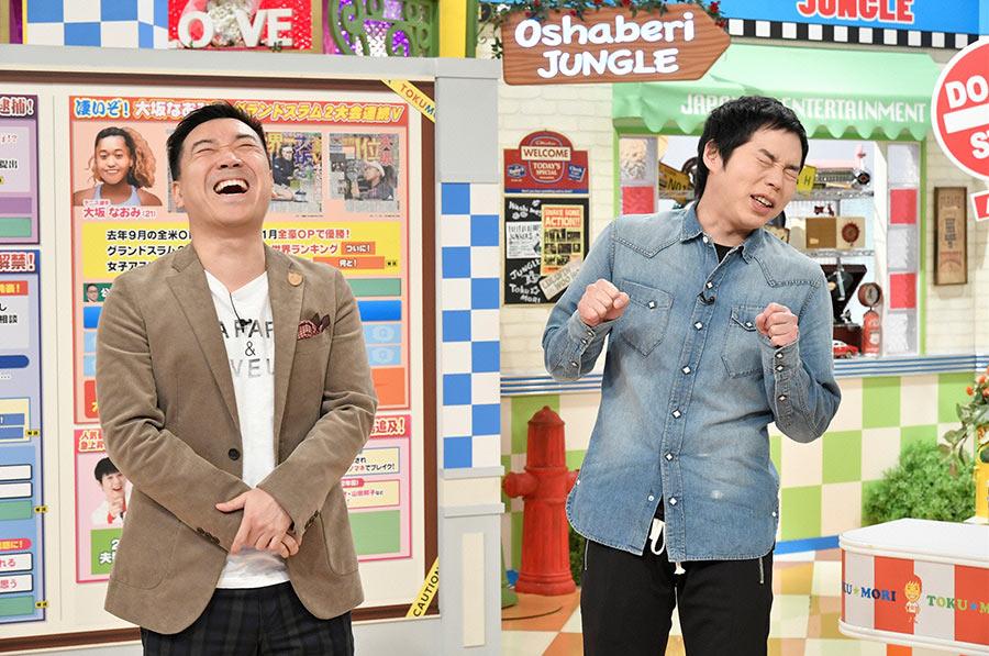 番組MCの月亭八光(左)と今田耕司 © ytv