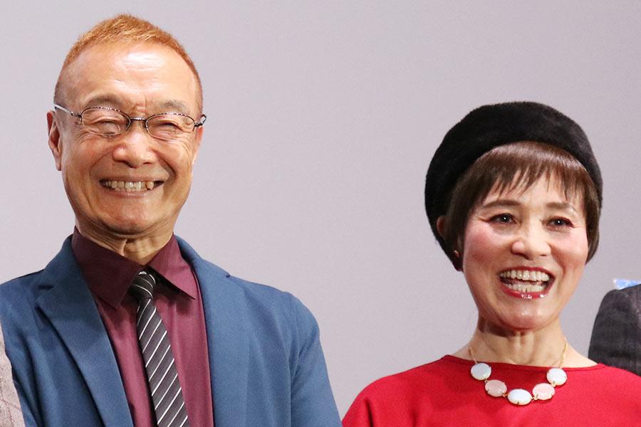 映画『劇場版シティーハンター〈新宿プライベート・アイズ〉』の舞台挨拶に登壇した、神谷明(左)と伊倉一恵(10日・大阪市内)