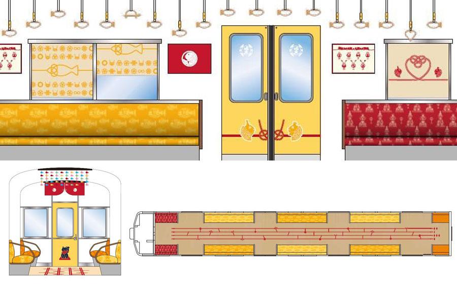 フォトスポットとして用意された恋人シート(上段右手)。運転席画の扉には招き猫(下段左)、床にあみだくじがデザイン