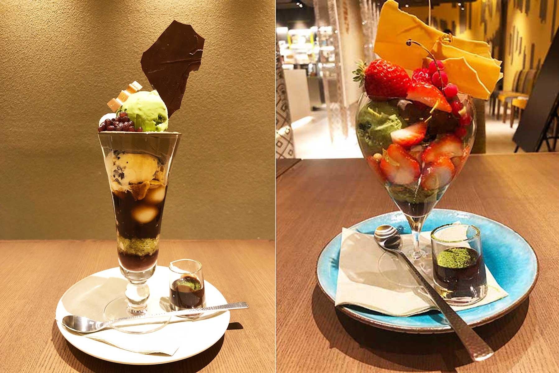 左から季節ごとに変わるパフェ「メランジュ フリュイ KYOTO マツリ」2484円、「黒抹茶 ショコラ」1340円