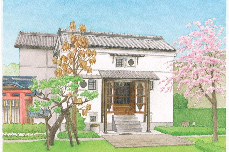 江戸時代に建てられた土蔵(絵:須田博行)