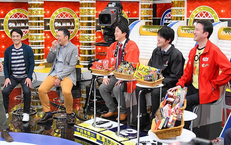 左から、中川家、ネスレ日本の平田有機さん、有楽製菓の牧宏郎さん、不二家の磯田聡史さん