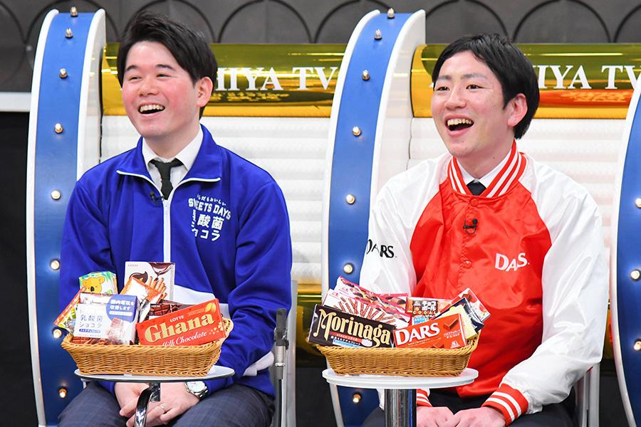 左から、ロッテの中村準さん、森永製菓の武田優太さん