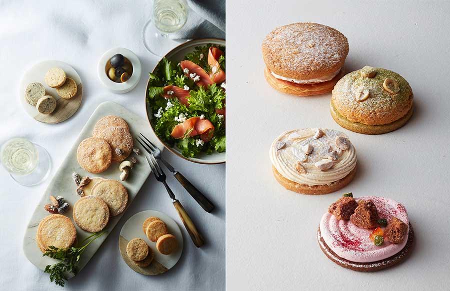 左の写真がサレクッキー(丸皿が「たかやマルシェ」、長方形の皿が「Now on Cheese」)。右側が芦屋の名店4軒による限定クッキー「サブレ×セックアラカルト」各432円