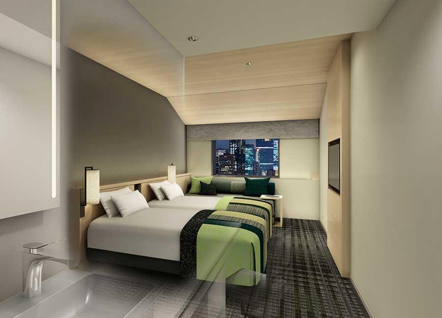 部屋は「田園」(写真)、「梅」「大阪城」をイメージしたデザイン(イメージ図)
