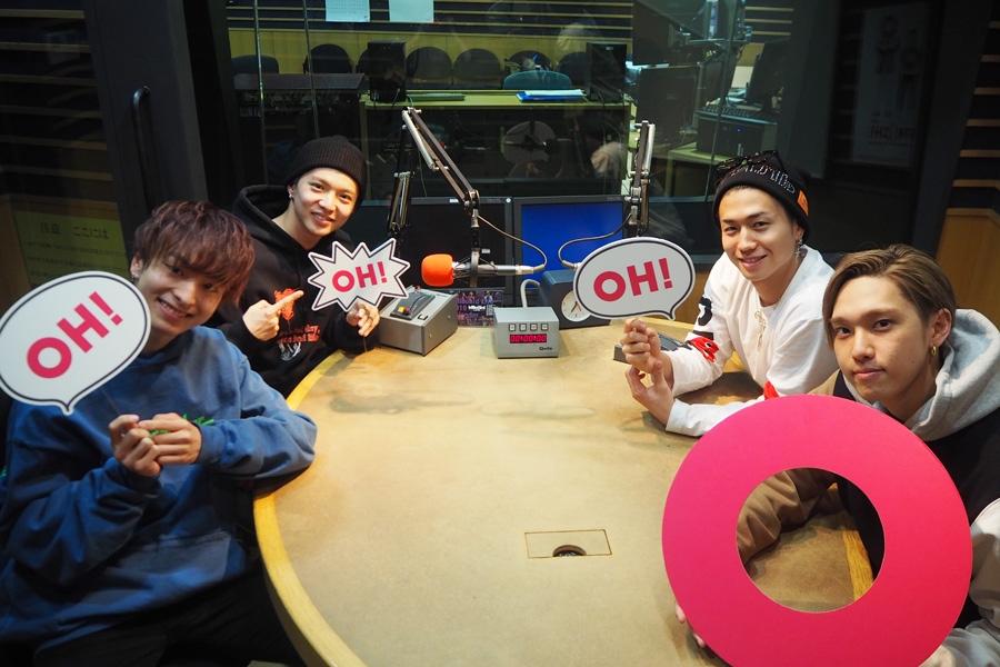 「FM OH!」で収録するFANTASTICS from EXILE TRIBEのメンバー(左から木村慧人、佐藤大樹、瀬口黎弥、堀夏喜)