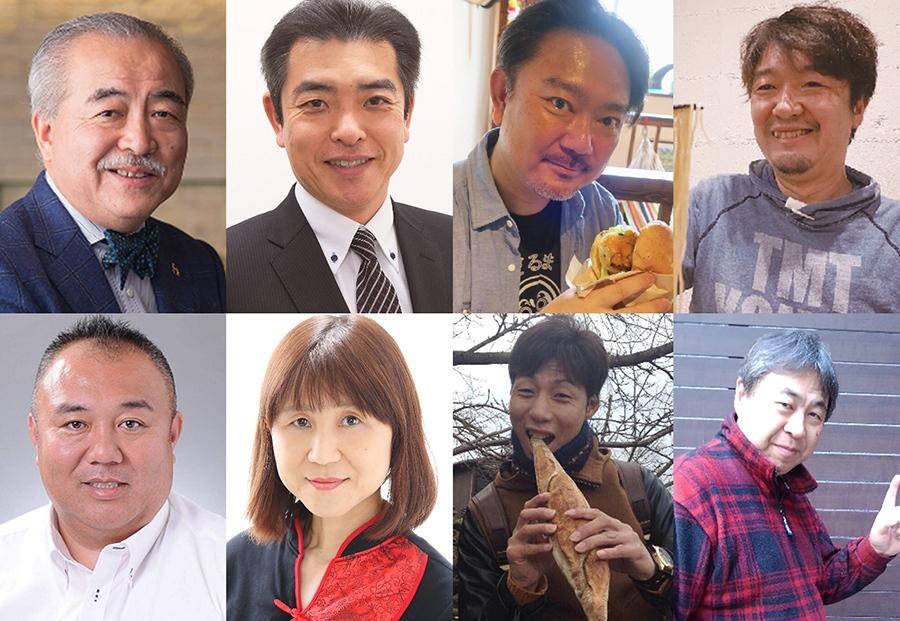 上段左から、門上武司氏、M三郎氏、ふじじん氏、尼崎のおおさか氏、下段左から、プーさん氏、肉姐さん氏、べんきちどんぶり氏、大阪人ロック氏