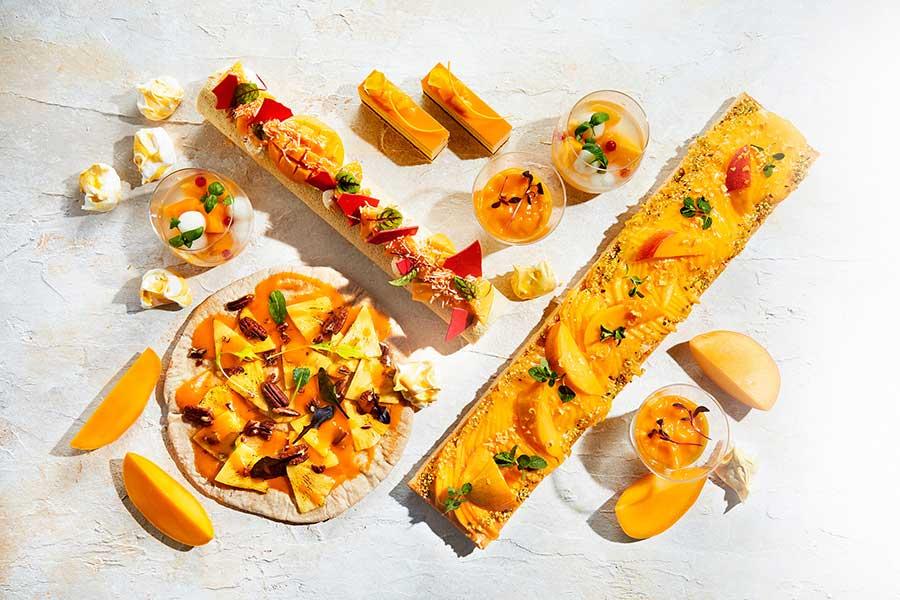 バジルの香るマンゴーコンポートとソーダ、マンゴーとパプリカとモッツァレラチーズのケーク・サレなど趣向を凝らしたメニューも