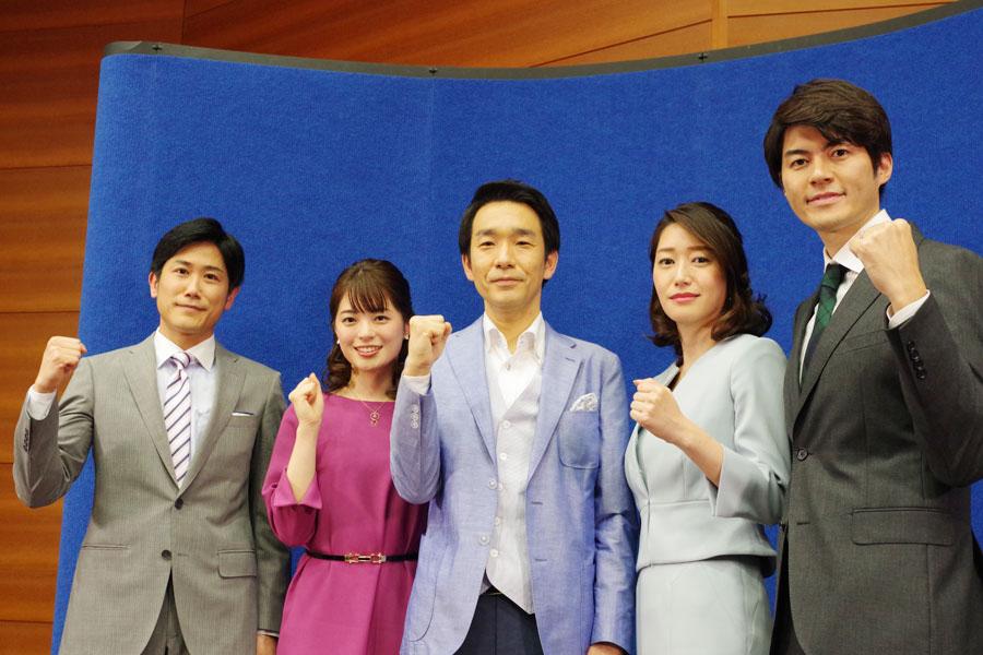 今春からNHK大阪放送局の顔を務める新キャスター。左から二宮アナ、川崎アナ、近田アナ、牛田アナ、狩野アナ
