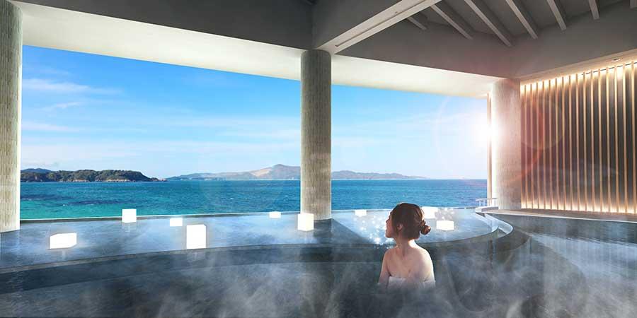 温泉と海がつながっているように見える「インフィニティ風呂」
