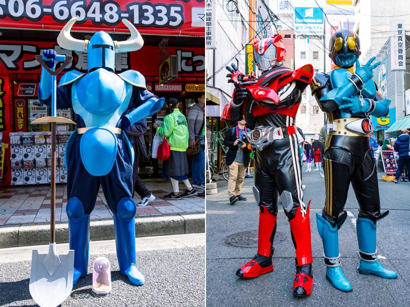 アクションゲーム『ショベルナイト』(左)、仮面ライダードライブ&仮面ライダー3号(右) 写真/木村華子