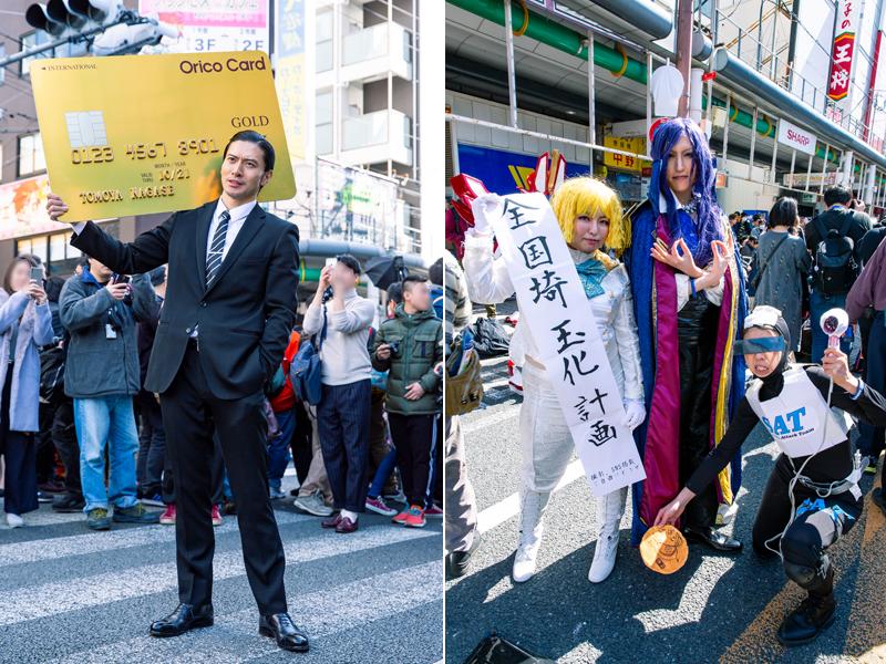 オリコカードCMの長瀬智也(左)、『翔んで埼玉』(右)のコスプレ 写真/木村華子