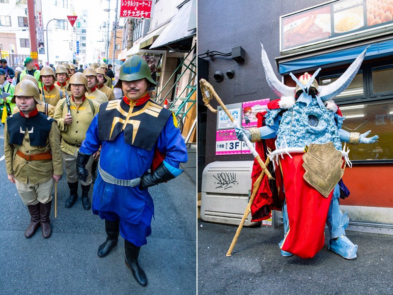 ストフェス名物のジオン軍歩兵部隊(左)、『Fate/Grand Order』のイヴァン雷帝(右) 写真/木村華子