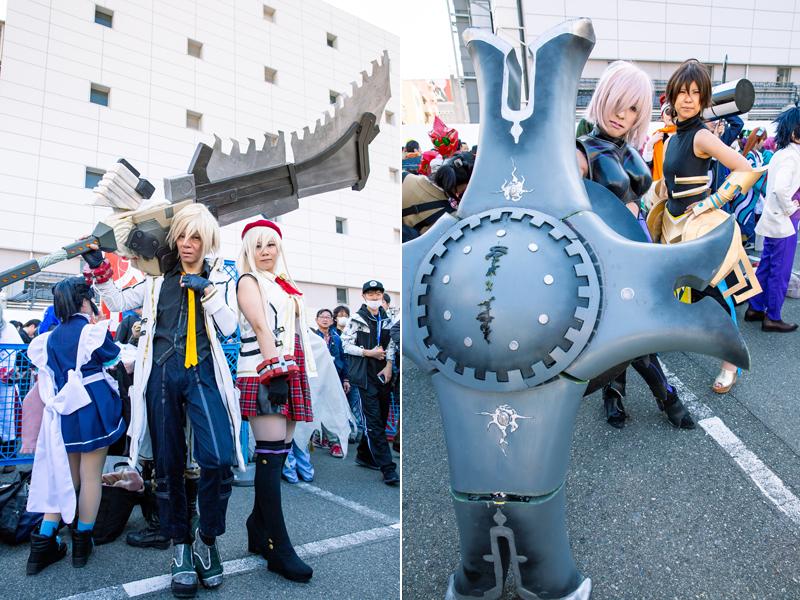 『ゴッドイーター2』のソーマ&アリサ(左)、『Fate/Grand Order』のマシュ・キリエライト、オジマンディアス(右)