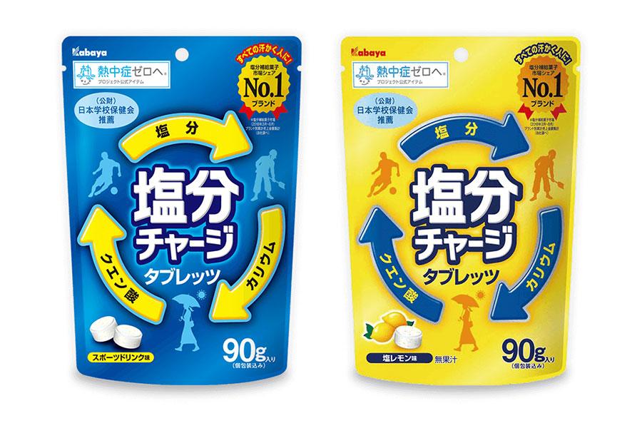 左から「塩分チャージタブレッツ スポーツドリンク味」、「塩分チャージタブレッツ 塩レモン味」。価格はともに200円(税別)