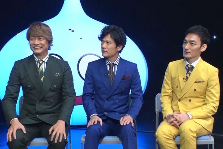 「星ドラ応援ソング」の制作を発表した新しい地図の3人(左から、香取慎吾、稲垣吾郎、草彅剛)