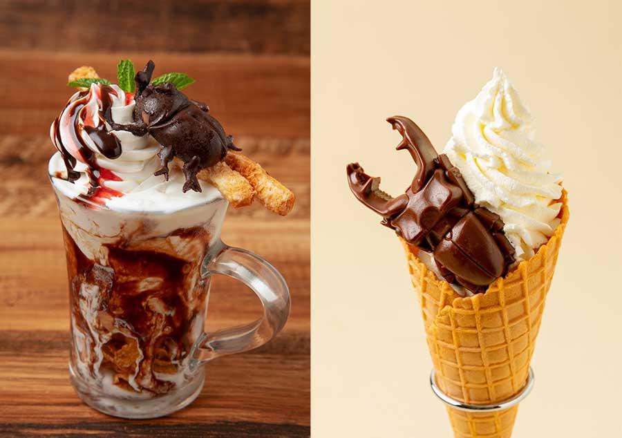 左から「カフェ ルパン」のかぶと虫チョコレートサンデー980円、スタンド「森のオアシス」のくわがたソフトクリーム650円などのフードも