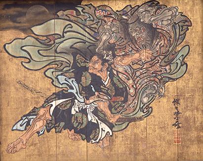 河鍋暁斎《大森彦七鬼女と争う図》 明治13(1880)年 成田山霊光館 通期展示