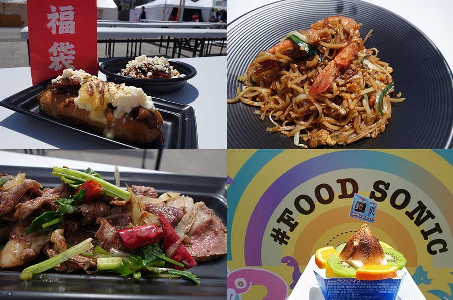 左上から時計回りに、「時の葉」と「シュクレクール」のコラボ、タイ料理「スウィートバジル」、「過ぎるTV」とロッテのコラボスイーツ、中国料理「一碗水」。店舗は5月1日から変更