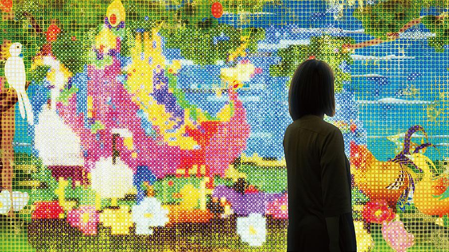 世界は、統合されつつ、分割もされ、繰り返しつつ、いつも違う/United, Fragmented, Repeated and Impermanent World  teamLab, 2013, Interactive Digital Work, 8 channels, Endless, Sound: Hideaki Takahashi   ©teamLab