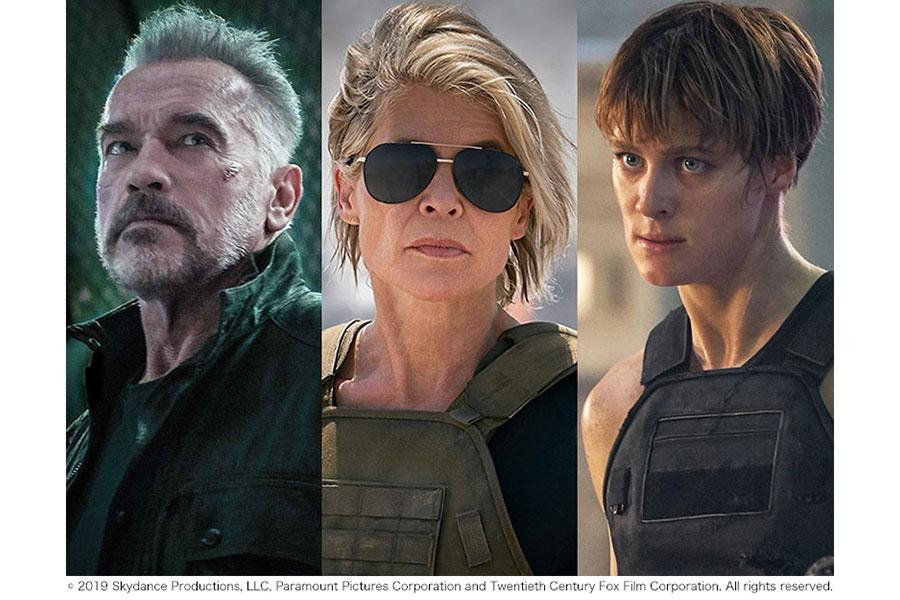公開されたアーノルド・シュワルツェネッガー演じる「Tー800」、リンダ・ハミルトン演じるサラ・コナー、マッケンジー・デイヴィス演じる新キャラクター