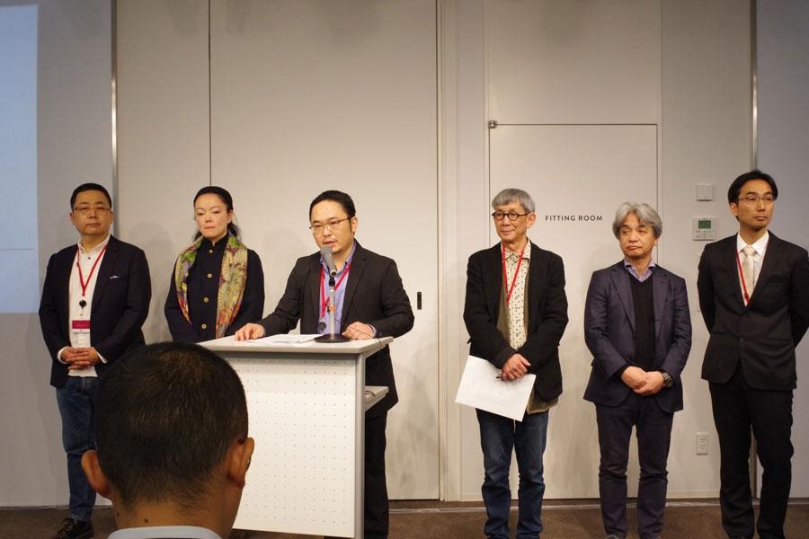 左から陰山陽太支配人、やなぎみわ副館長、あごうさとし、茂山あきら館長ら、会見を開いた「E9 KYOTO」の関係者